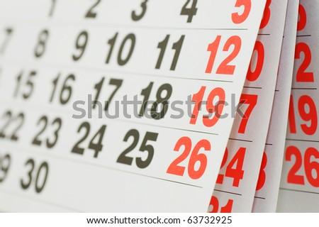 Close up a calendar page - stock photo