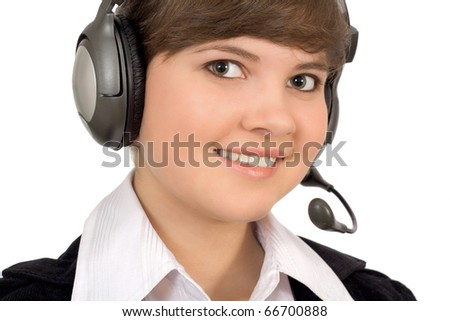 close-up, a charming young woman with telephone headset - stock photo