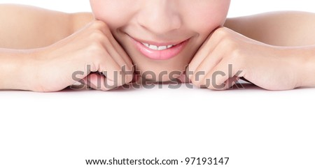 Close up a smiling mouth of the girl, model is a asian beauty - stock photo