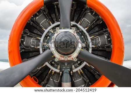 Close up abstract of  a vintage airplane propeller engine - stock photo