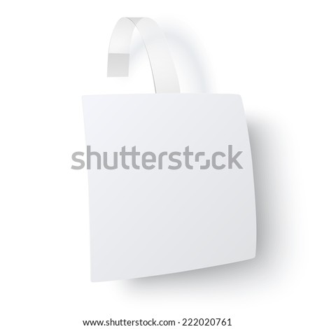 Close up and from one side view of white square paper advertising wobbler with transparent trip isolated on white background. Raster version illustration. - stock photo