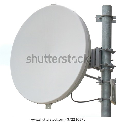 Close-up antenna dish for telecommunications with white background. - stock photo
