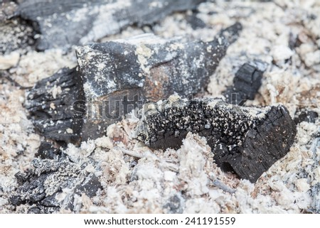 close up ashes after burning of charcoal - stock photo