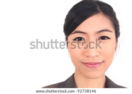 Close up Asian Business woman on white background - stock photo