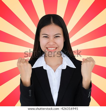 close up asian officer woman with feeling wining isolated sunburst background concept:happiness young girl with victory:satisfy young girl:delight gratify of feminine emotion:victory triumph idea  - stock photo