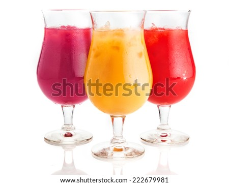 Close up Assorted Flavor Mouth Watering Cold Drinks on Glass with Ice Pieces. Isolated on White Background. - stock photo