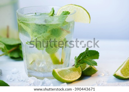 Close up at cold fresh lemonade drink with slice of lime on the glass. Slices of lime and mint leaves on a  white wooden background. Copy space.