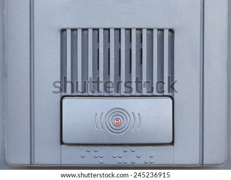 Close - up at Security intercom button in the apartment door  - stock photo