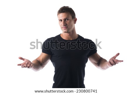 Close up Athletic Young Man Wearing Black Casual T-Shirt with Open Arms and Hand While Looking at the Camera. Isolated on White Background. - stock photo
