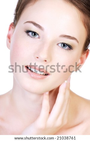 Close-up attractive female teen face with good complexion - stock photo
