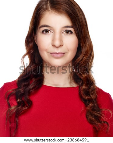 Close up, attractive young adult woman wearing red dress and she looking at camera - white background - stock photo