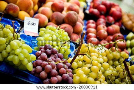 Close up background of fresh fruits outdoors