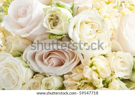 close-up background of white  bridal boquet - stock photo