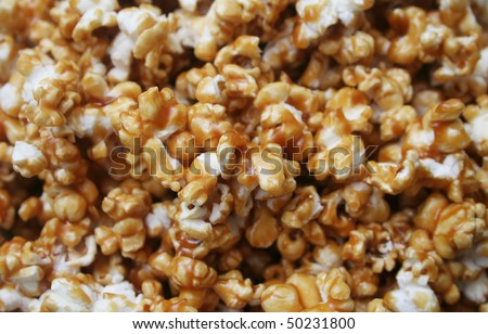Close up background texture of Caramel Popcorn - stock photo