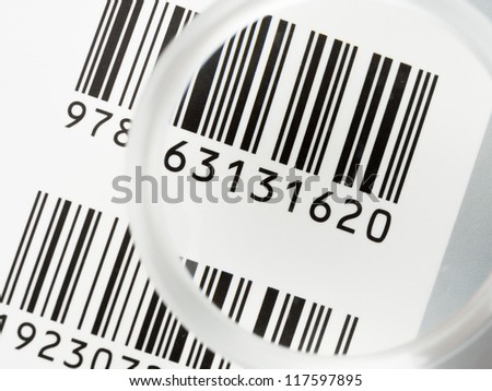 Close up bar code with glasses