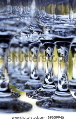 Close up. Bar glasses. - stock photo