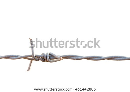 Close-up barbed Wire on a white background, isolated