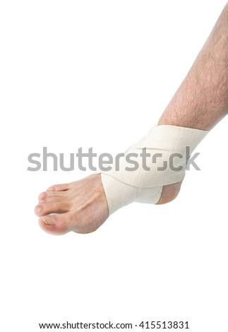 Close Up Bare Foot Wearing Flexible Elastic Supportive Orthopedic Ankle Brace in Studio with White Background and Copy Space, Compression stabilizer ankle. Foot injury, compression bandage, support