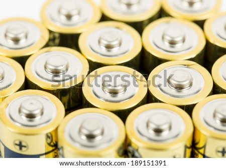 Close up Battery AA size arrange for use with white background