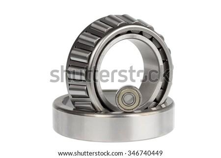 Close up bearings on white background - stock photo