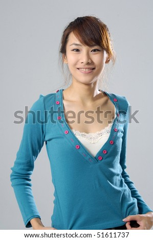 Close up Beautiful asian fashion on gray - stock photo