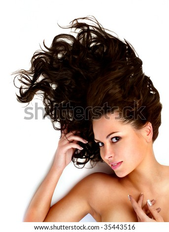 close-up beautiful female face with beautiful healthy long hairs
