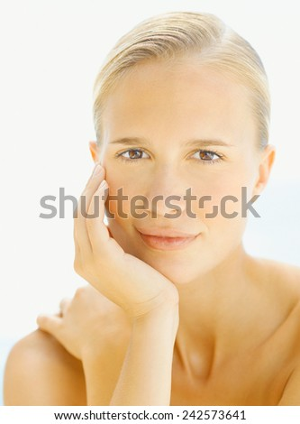 Close up Beautiful Happy Blond Woman  - stock photo