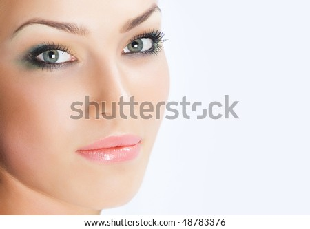 Close-up beautiful luxury fresh fresh face with beautibul make up