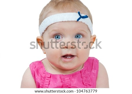Close up beautiful 7 month old baby girl in pink dress isolated on white - stock photo