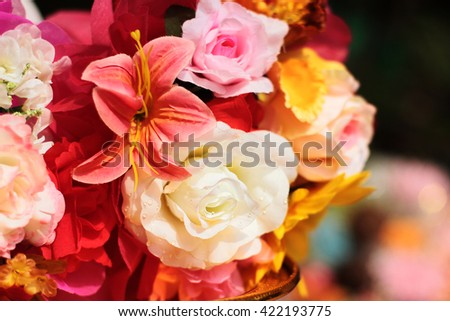 Close-up  Beautiful Multicolored different flowers  - stock photo