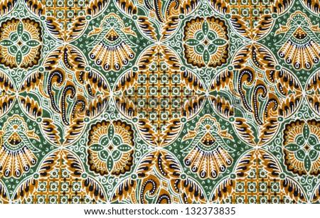 Close up beautiful pattern of batik fabric - stock photo