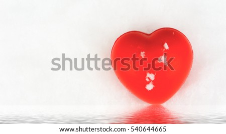 Close up beautiful red heart on white snow background / Selective focus