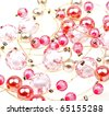 Close-up beautiful string of beads, necklace to background - stock photo