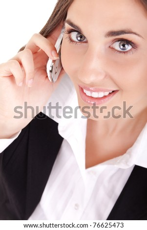 close up, beautiful woman on phone, isolated on white - stock photo