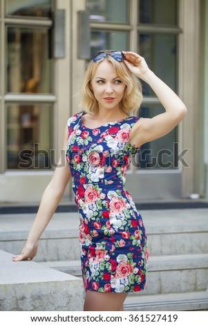 Close up, Beautiful young blonde woman - stock photo