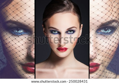 Close up beauty collage of beautiful gorgeous woman face with perfect bright  make up. - stock photo