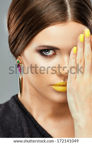 Close up beauty face portrait , lips , nails. Isolated