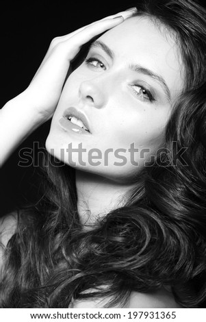 Close up beauty fashion portrait of beautiful model with clean make up and manicure - stock photo