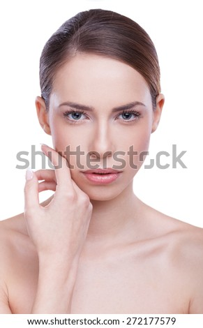 Close-up, beauty portrait of a beautiful, young woman against white background.  - stock photo
