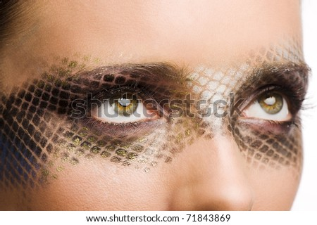close up beauty portrait of beautiful brunette girl with net faceart over white - stock photo