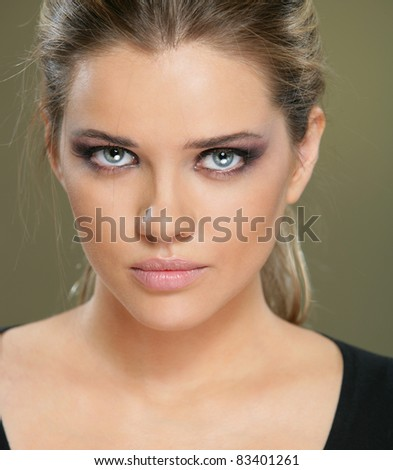 Close up beauty portrait, Young attractive woman face - stock photo