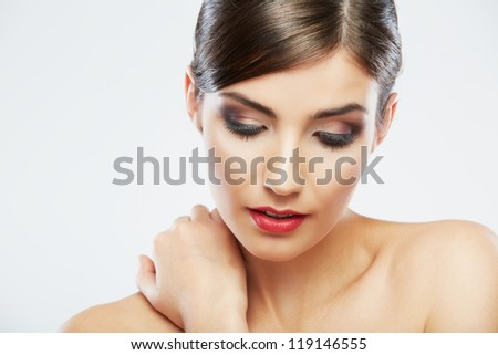 Close up beauty portrait, Young attractive woman face . Adorable Female model