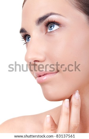 close up, beauty woman's face, isolated on white background