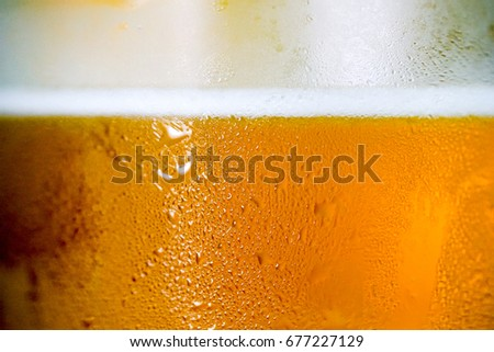 Close up Beer in water glass