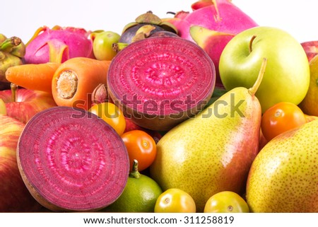 Close-up beet root with group fruits organic for healthy