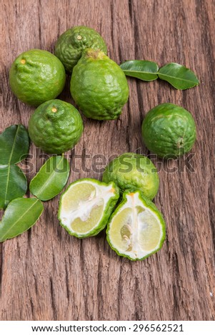 Close up bergamot on wooden table background - stock photo
