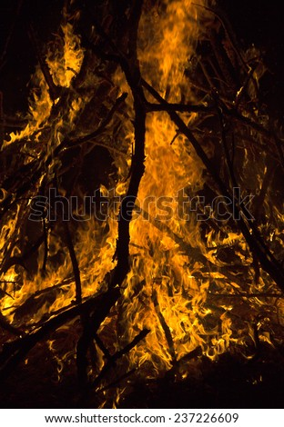 close-up big campfire at the night - stock photo