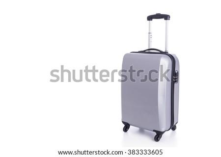 Close up big grey luggage isolated on white background