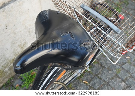 Close up bike seat with basket