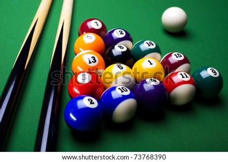 Close-up billiard balls - stock photo